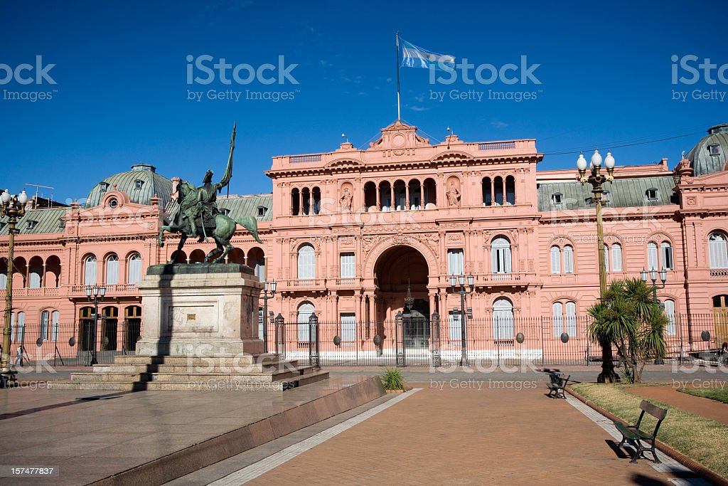 Front view of Case Rosado in Buenos Aires stock photo