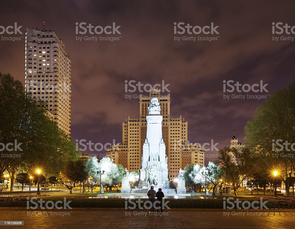 Front view of Cervantes Monument  at Madrid in night royalty-free stock photo