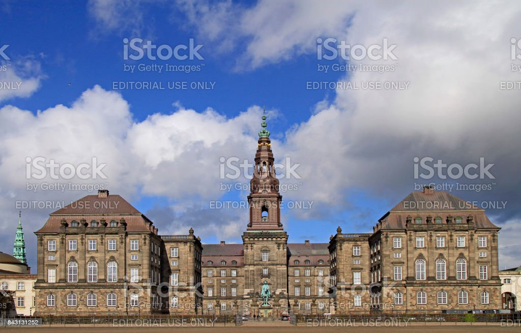 front view of Christianborg palace in Copenhagen stock photo