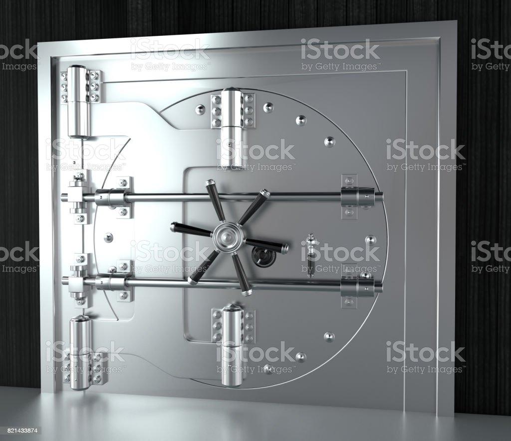 Front View Of Chrome Bank Vault Door Closed 3d Render Stock