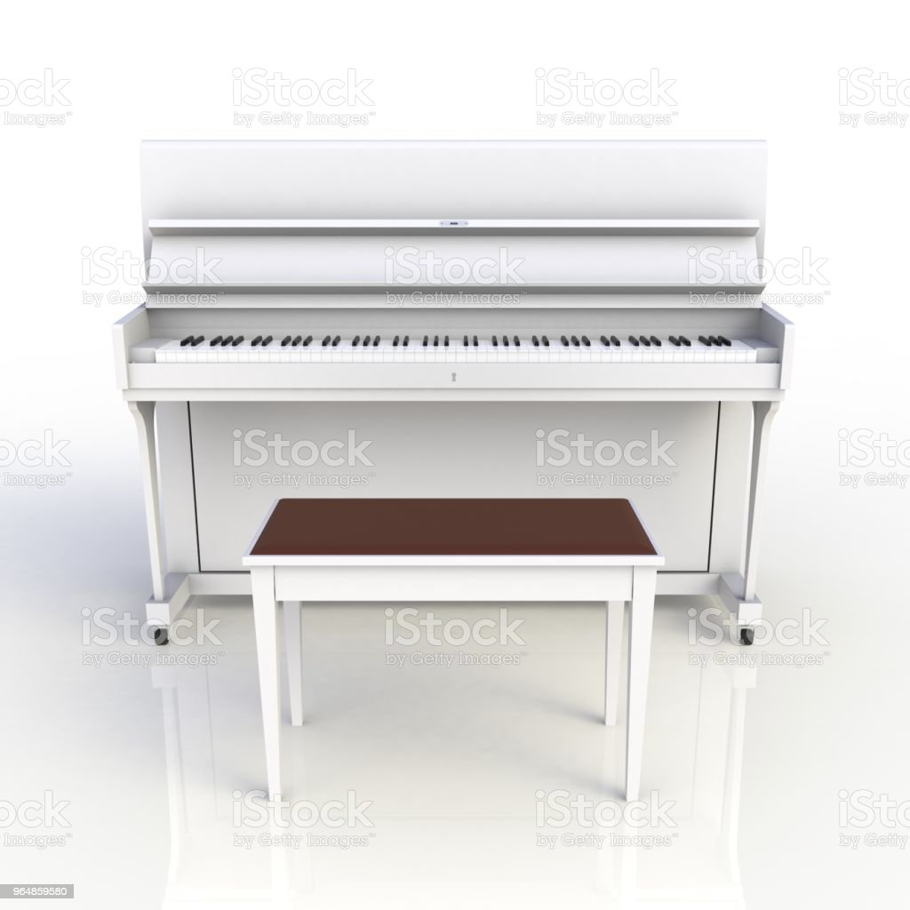Front view of classic musical instrument white piano isolated on white background, Keyboard instrument, 3d rendering royalty-free stock photo