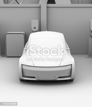 istock Front view of clay shading electric car in parking lot 1010378300