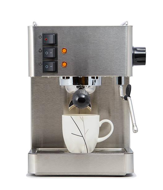 vista frontale di caffè con coppa - argento metallo caffettiera foto e immagini stock