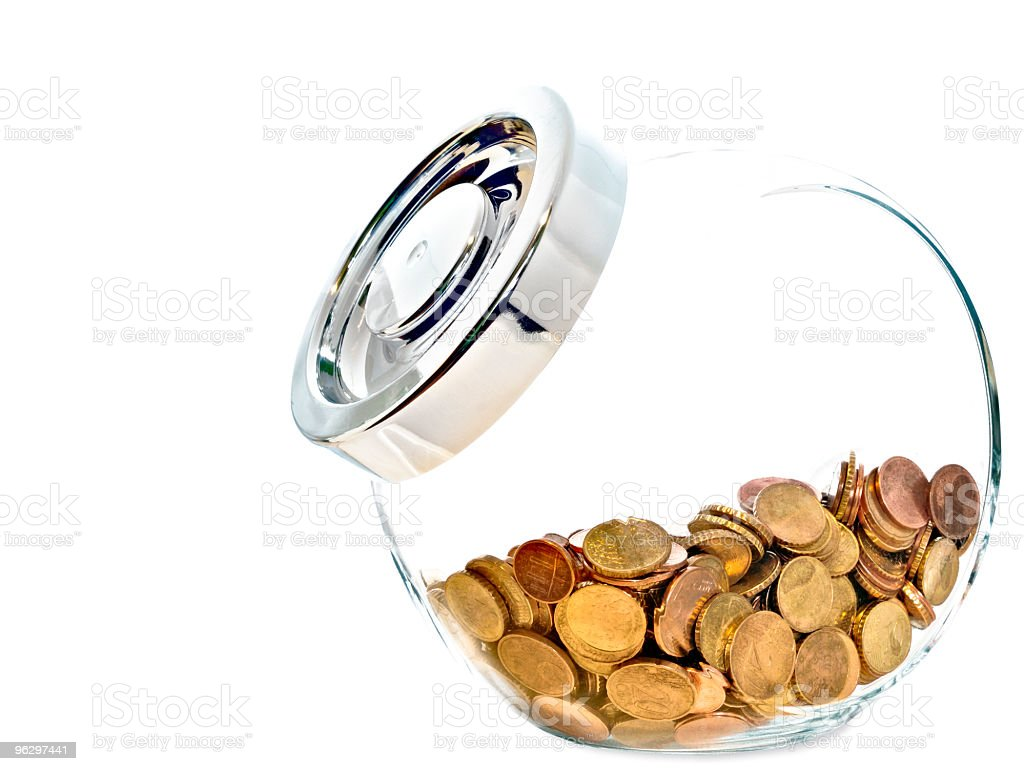 Front view of Coins in a Glass Case, White Background royalty-free stock photo