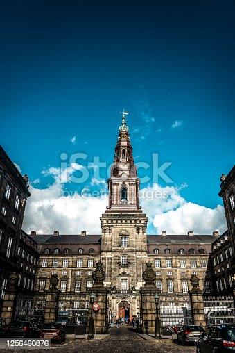 Front View Of Copenhagen Folketing Parliament In Copenhagen, Denmark