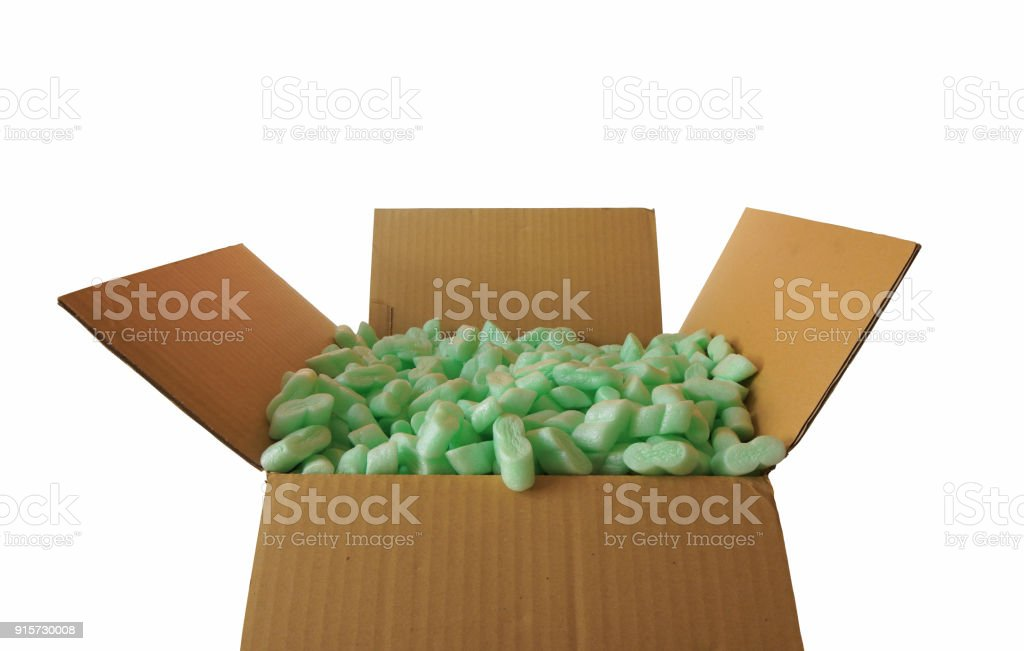 Front View Of Corrugated Cardboard Box Full Of Pieces Of