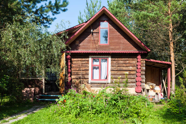 front view of country log house on summer day front view of country log house on sunny summer day in Tver region of Russia russian dacha stock pictures, royalty-free photos & images