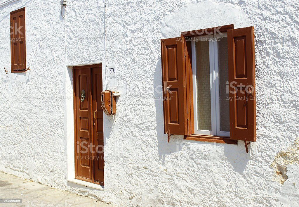 Front view of door and windows royalty-free stock photo