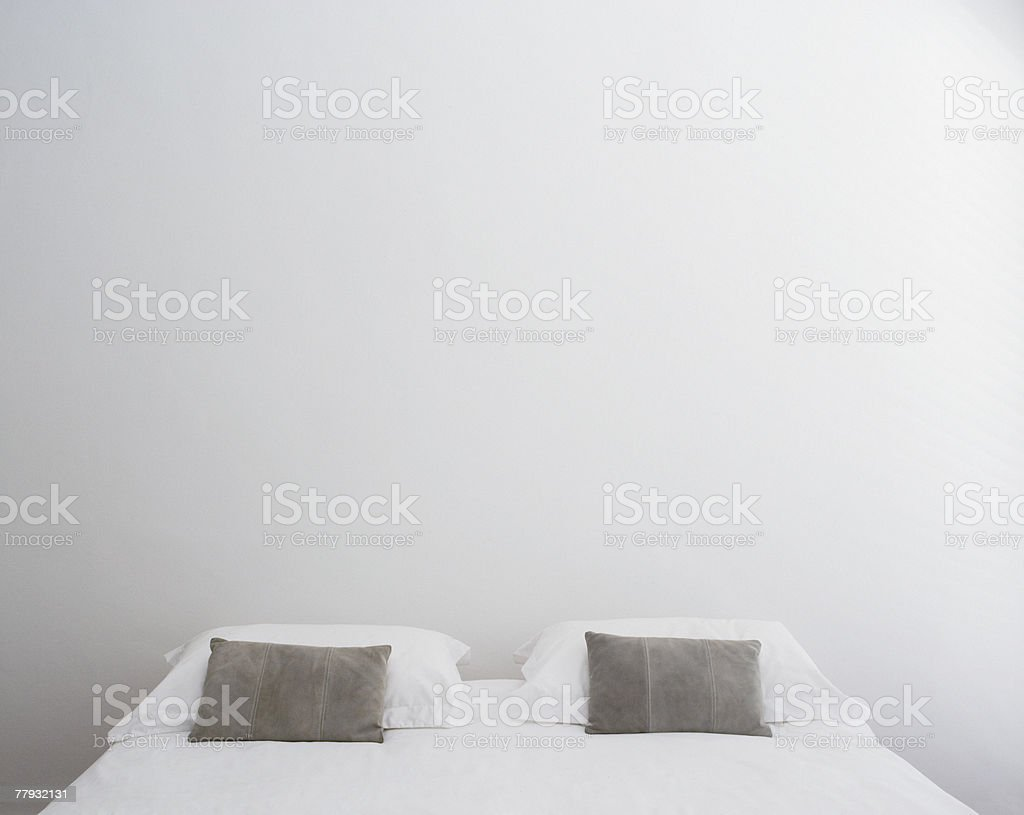 Front view of double bed stock photo
