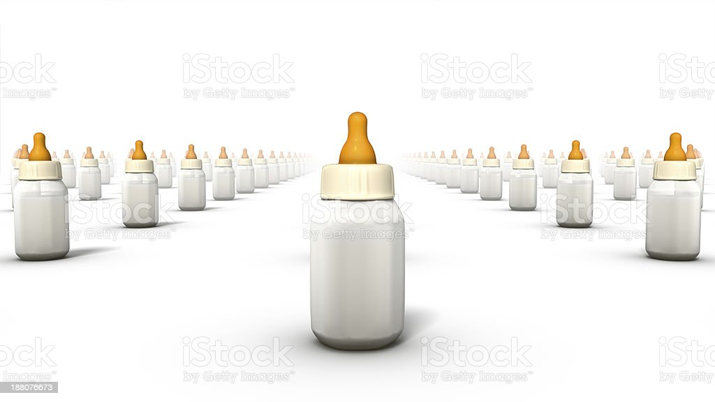 Front view of endless Baby Bottles stock photo