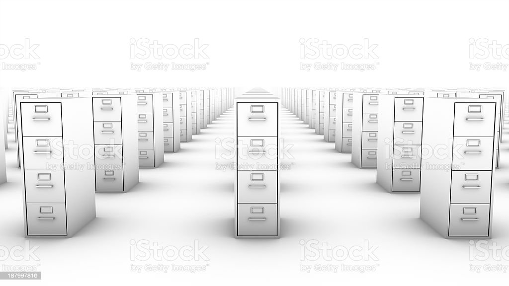 Front view of endless File Cabinets (White) royalty-free stock photo