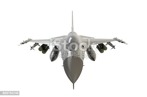 104268934 istock photo Front view of F16, american military fighter plane on white background, 3D rendering 839794246