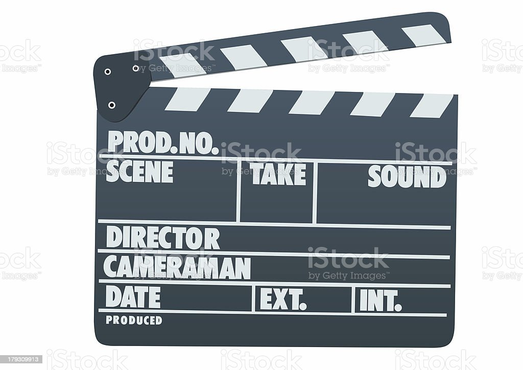 Front view of film clap board royalty-free stock photo