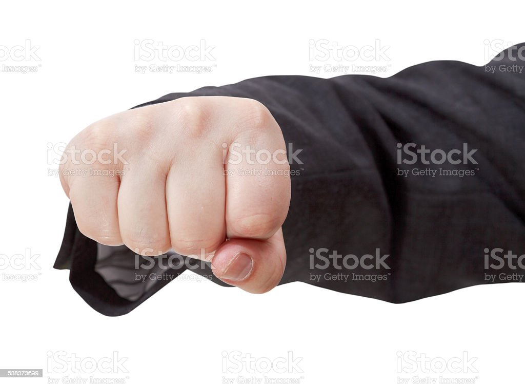 front view of fist punch - hand gesture stock photo