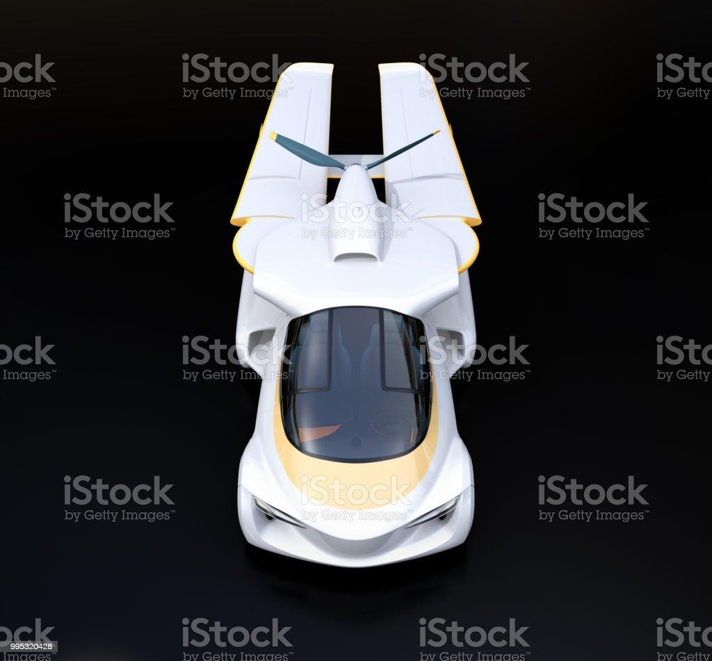 Front view of futuristic autonomous car on black background stock photo