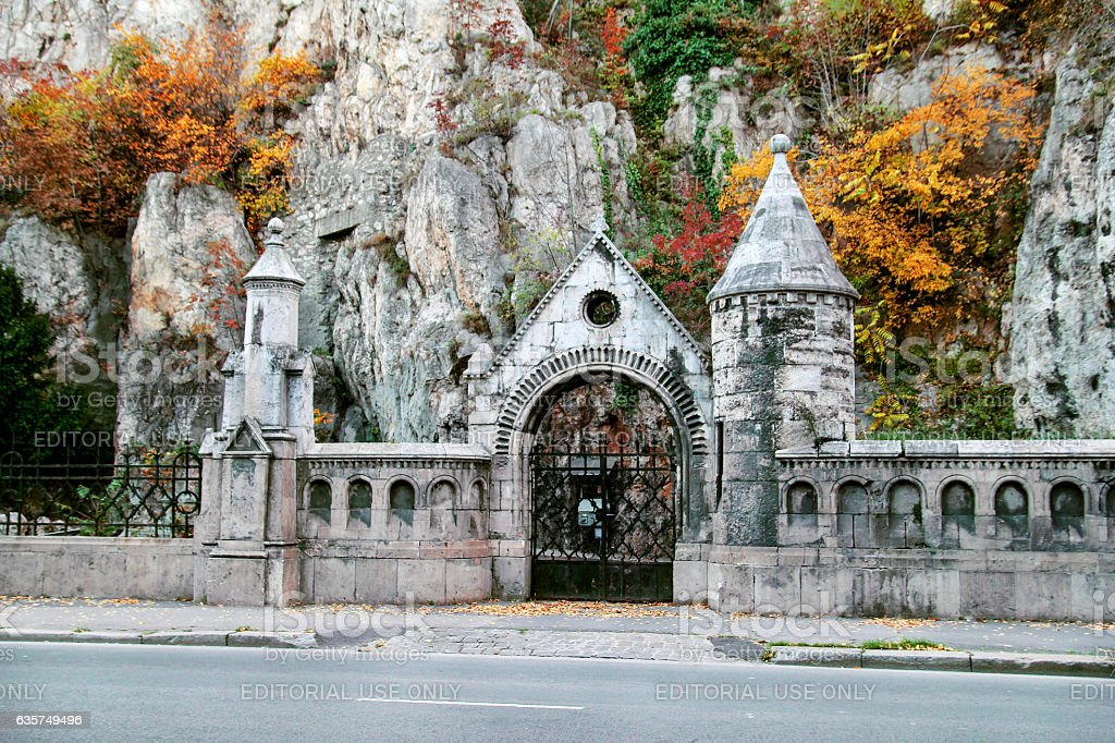 Front view of Gellert Hill Cave Church stock photo