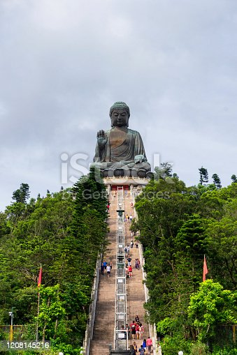 Front view of Giant Buddha/ Po Lin Monastery Statue at Lantau Island, Hong Kong