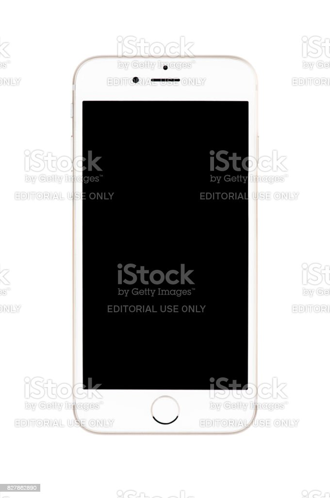 Varna, Bulgaria - September 22, 2016: Front view of  Gold Apple iPhone 6S mockup with black screen. Isolated on white. stock photo