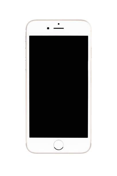 varna, bulgaria - september 22, 2016: front view of  gold apple iphone 6s mockup with black screen. isolated on white. - iphone zdjęcia i obrazy z banku zdjęć