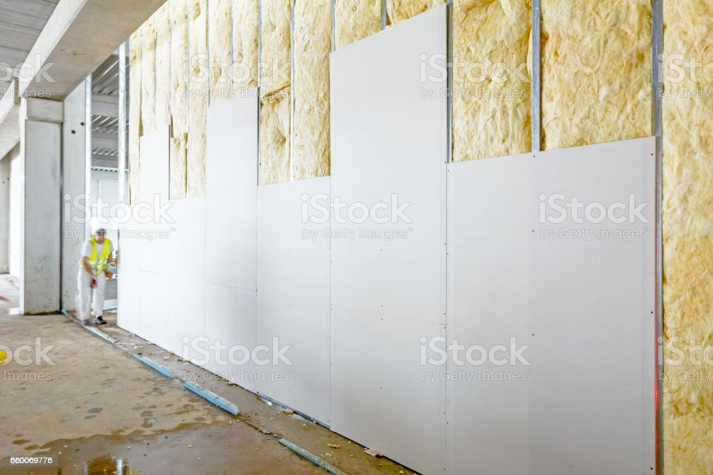 Front view of gypsum wall, plasterboard is under construction royalty-free stock photo