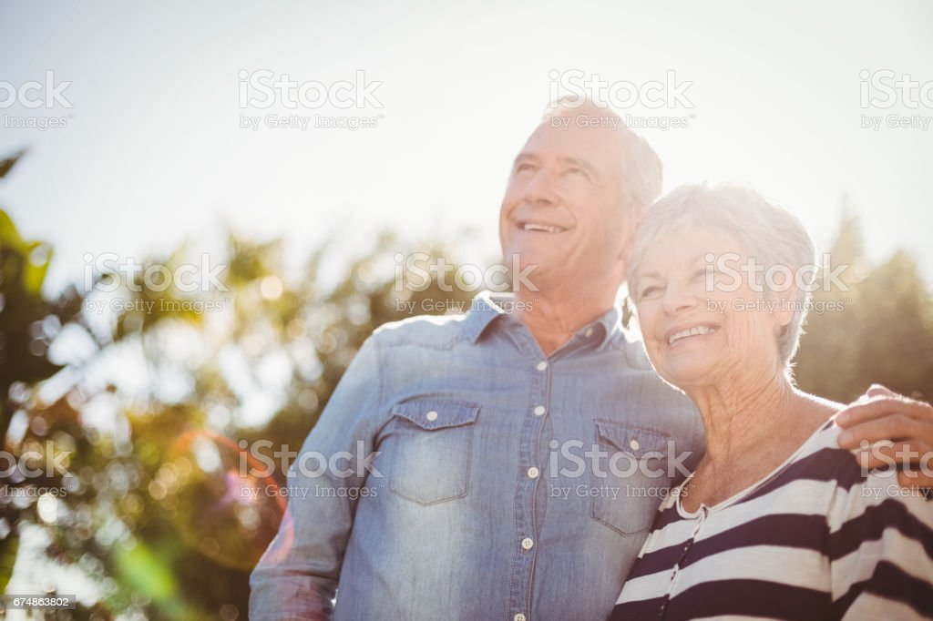 Front view of happy senior couple stock photo