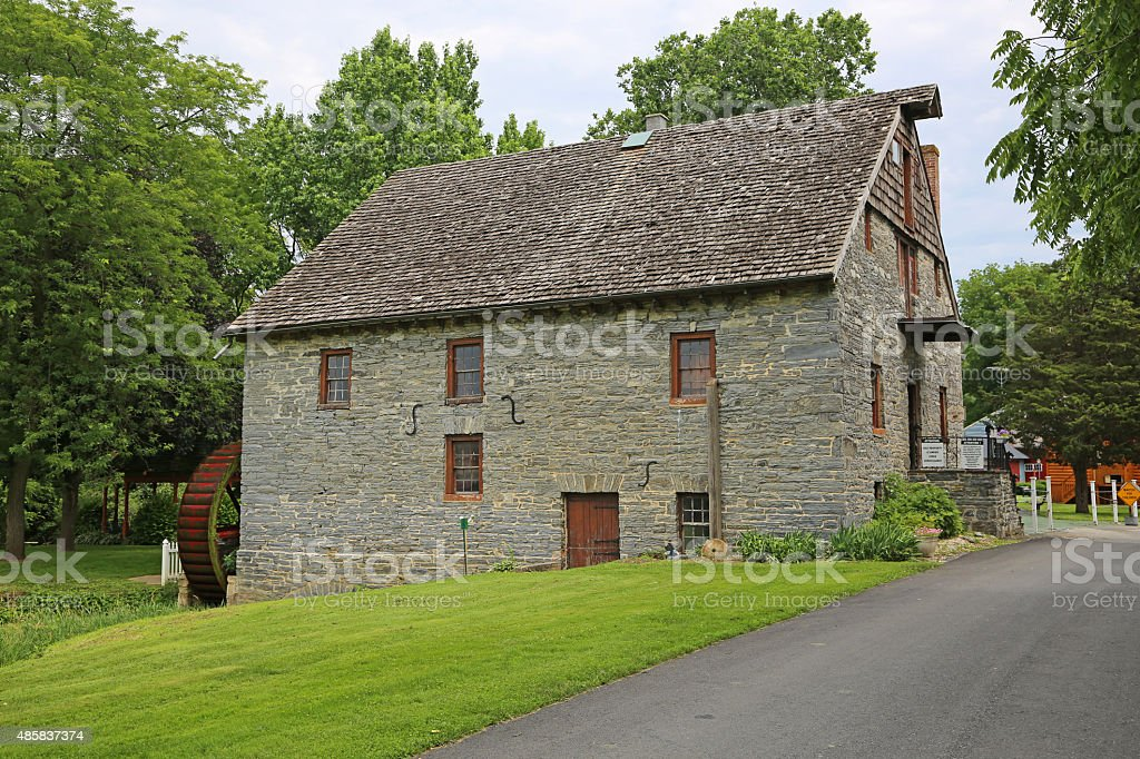 Front view of Herr's Mill stock photo
