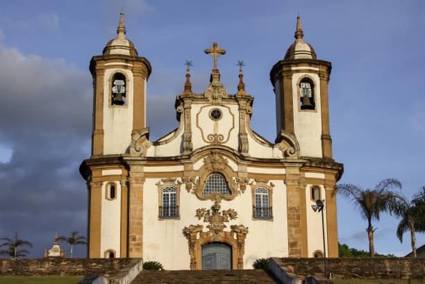 Vorderansicht des historischen barocken Kirche Nossa Senhora Carmo, Ouro Preto, UNESCO Weltkulturerbe – Foto