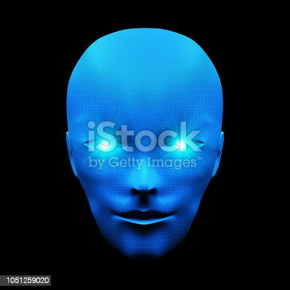 istock Front view of human head. Model isolated on blue background, artificial intelligence in digital futuristic computer technology concept, 3d illustration 1051259020