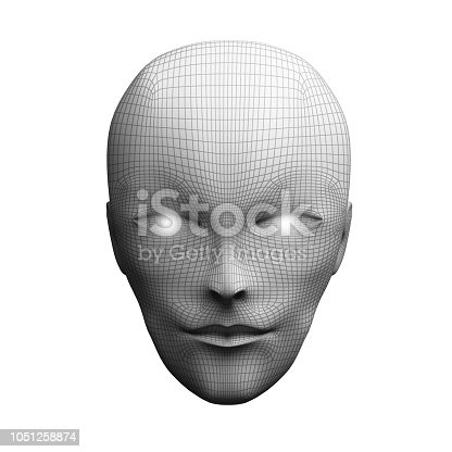 istock Front view of human head. Model isolated on white background, artificial intelligence in digital futuristic computer technology concept, 3d illustration 1051258874