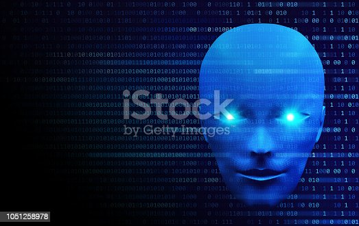 istock Front view of human head with binary code. Model isolated on blue background, artificial intelligence in digital futuristic computer technology concept, 3d illustration 1051258978