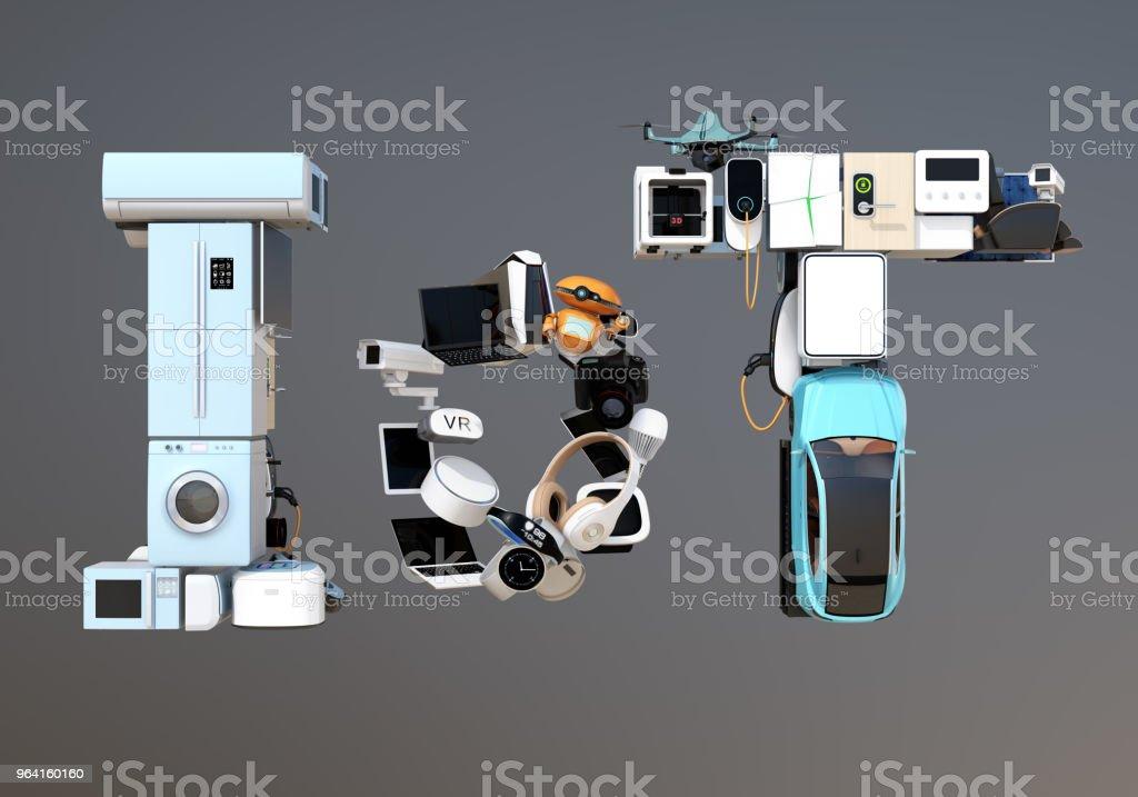 스마트 기기에 의해 구성 된 IoT 텍스트의 전면 보기 스톡 사진
