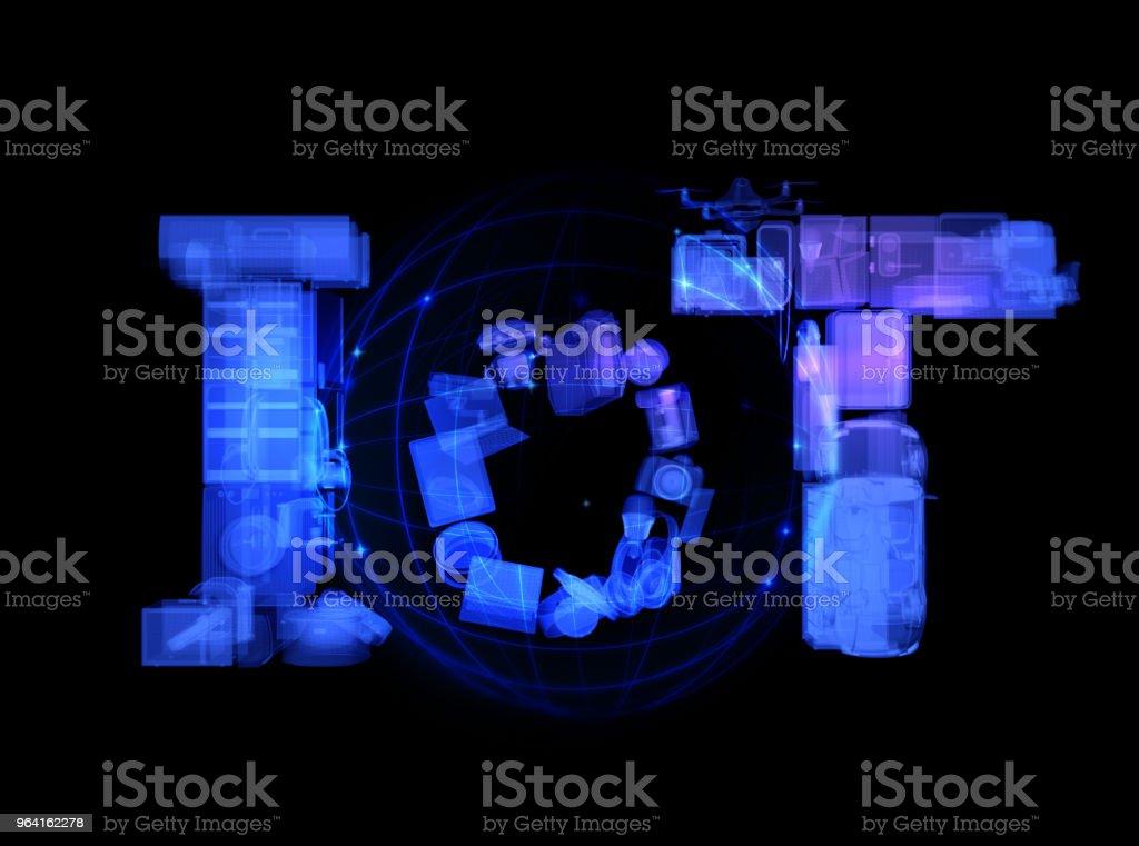 X 선 모드에서 렌더링 하는 스마트 기기에 의해 구성 된 IoT 텍스트의 전면 보기 스톡 사진