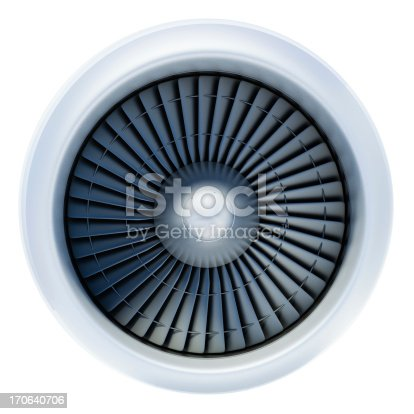 A large white jet engine turbine, with a lot of silver blades interconnected to each other and a central silver dome, in the middle of the jet turbine.  It is not connected to any plane, and the background is plain white.