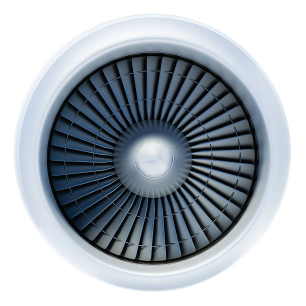 Front view of jet engine on white background A large white jet engine turbine, with a lot of silver blades interconnected to each other and a central silver dome, in the middle of the jet turbine.  It is not connected to any plane, and the background is plain white. turbine stock pictures, royalty-free photos & images