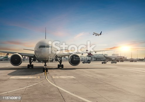 istock Front view of landed airplane in Istanbul International Airport 1137400812