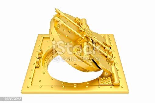 Front view of light gold bank vault door, open. The door to the bank vault isolated on white background. 3D Render