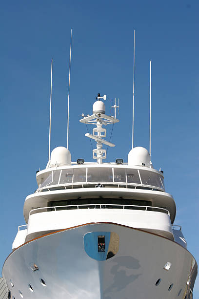front view of luxury yacht - yacht front view stock photos and pictures