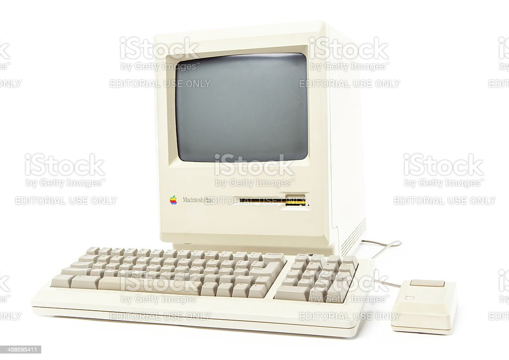 Front View of Mac Plus Computer royalty-free stock photo