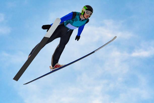 Vorderansicht des männlichen Skispringer in der Luft gegen den blauen Himmel – Foto