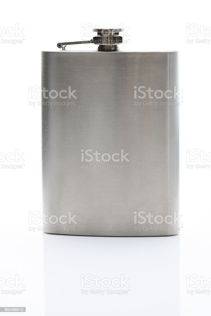 Front view of metal flask - foto stock