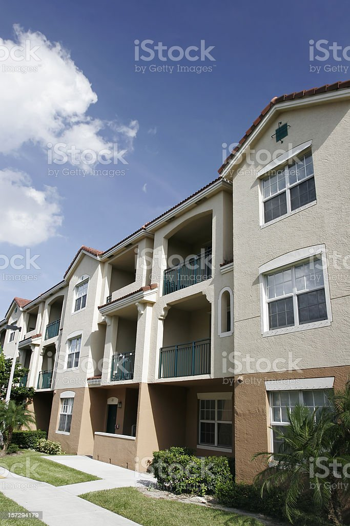 Front view of modern apartments stock photo