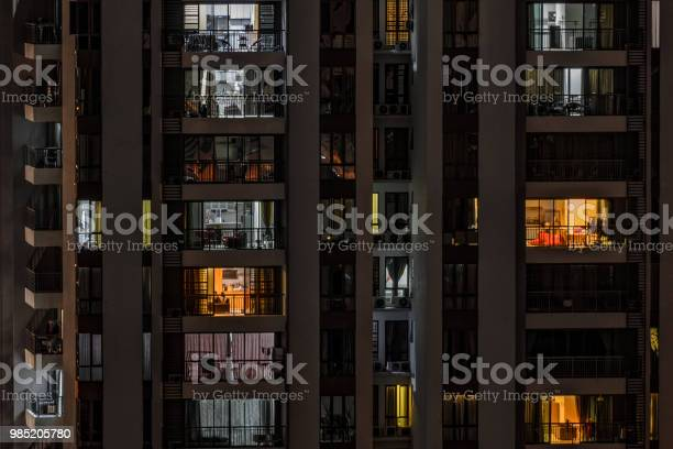 Front view of modern highrise building with windows of cozy in which picture id985205780?b=1&k=6&m=985205780&s=612x612&h=dsvlxa zuwni9onwxfhacj5cle3srdisko7gj6yxvhq=