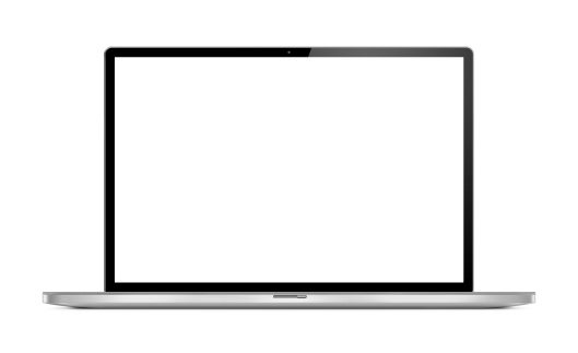 Ultra thin, modern, portable computer (laptop) shot from the front with blank and white screen. Isolated on white background.