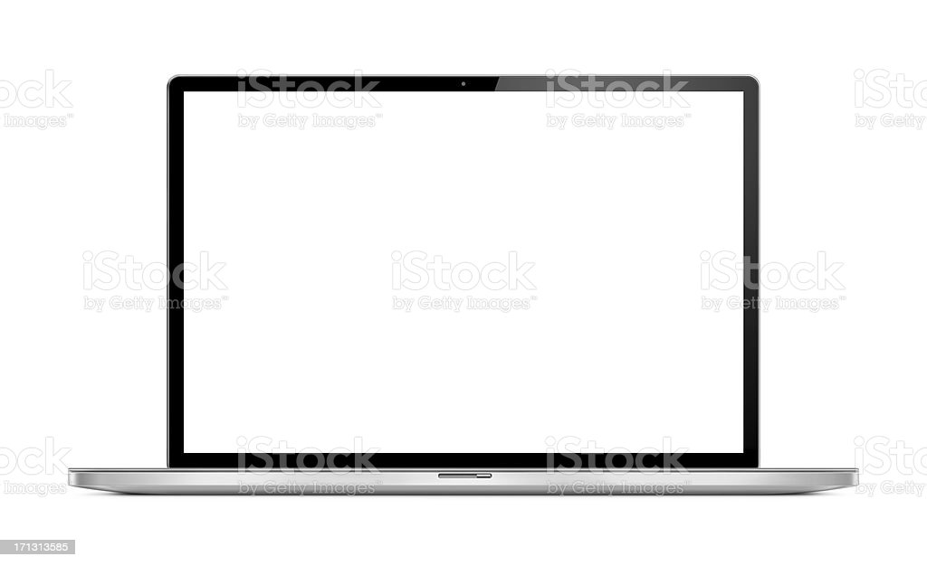 Front View of Modern Laptop stock photo