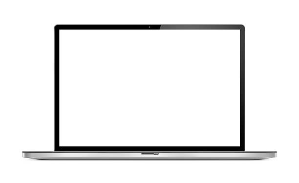 Front View of Modern Laptop Ultra thin, modern, portable computer (laptop) shot from the front with blank and white screen. Isolated on white background. computer screen stock pictures, royalty-free photos & images