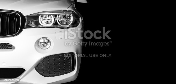 Sankt-Petersburg, Russia, March 05, 2017: Front view of modern luxury sport car white exterior of BMW X5M 2017 on the test-drive in Sankt-Petersburg at March 05 2017