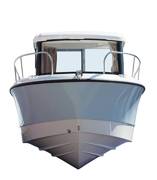 front view of motor boat. isolated over white - yacht front view stock photos and pictures