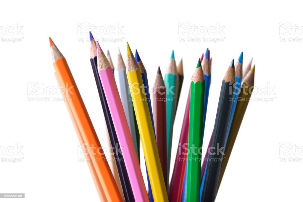 Front View of Multicolored Pencils Shot in Studio on White Background royalty-free stock photo