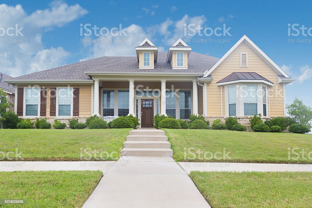 Front view of newly constructed beautiful home stock photo