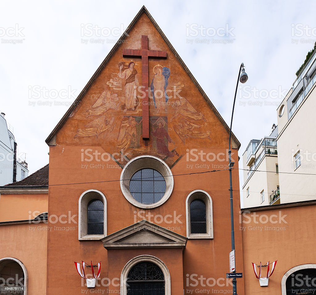 front view of of Kapuzinerkirche in Vienna stock photo